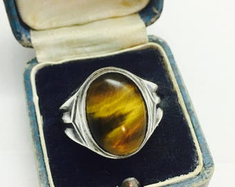 Vintage Sterling Silver Clark & Coombs Art Deco Men's Tiger's Eye - Size 10 - 6.7 Grams