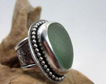 California Sea Foam Ring - Size 6.5, Large, Beach Glass, Sterling Silver, Sea Glass Ring