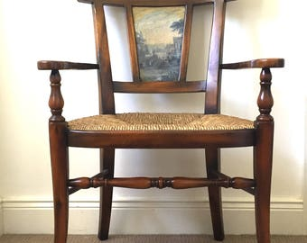 Vintage wooden chair, antique chair, rush seated elbow chair, dressing table chair, ocassional chair.