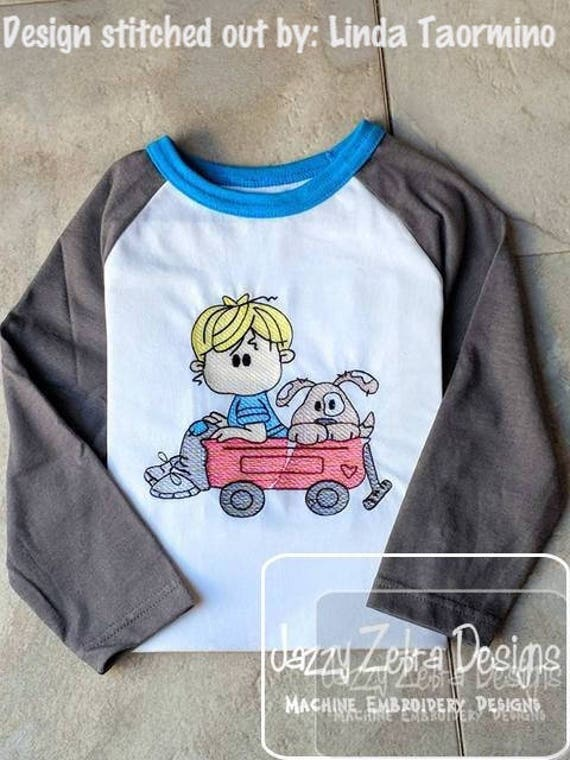 Boy with puppy in wagon sketch embroidery design - boy embroidery design - wagon embroidery design - puppy embroidery design - dog design