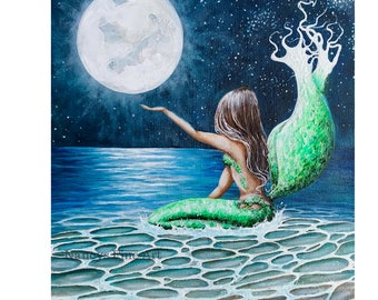 Original mermaid moon painting on canvas, mermaid wall art, full moon painting with mermaid by Nancy Quiaoit at Nancys Fine Art.