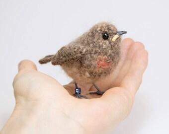 Baby robin fibre art bird sculpture