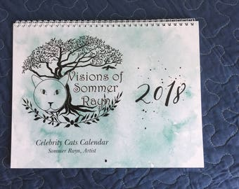 2018, Sommer Rayn Calendar, featuring famous celebrity cats,  Dr. Who, Marilyn Monroe, Hagrid, Snow White, Tiny Tim,  1 for each month
