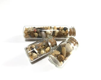 Beach Sand Vials; Glass Vial of Sea Sand;Jar of Sand and Pebbles, Jar of Dirt, Beach in a jar, Stones in a Vial,