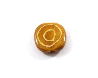 Tan Kazuri Bead, Ceramic Bead, Tan With 14k Gold Swirls Bead, Lentil Bead, Pita Pat Bead, African Bead, Handmade Bead
