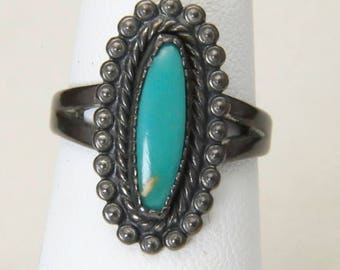 Vintage Navajo Old Pawn Sterling Silver & Turquoise Ring Oblong Dainty Sz 6