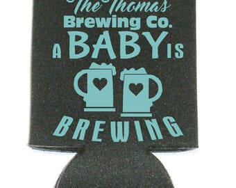 A Baby Is Brewing Shower Coolers Holds Beer Water or Soda Party Favor Can Coolers