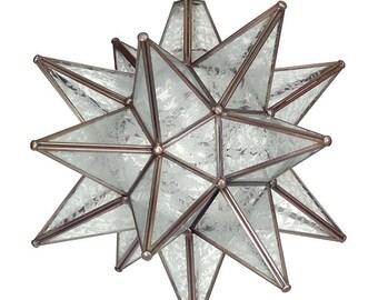 """Moravian Star Pendant Light, Glue Chip Glass, Dark Frame, 16"""""""