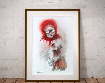 Original Watercolor Dog Painting. Dog Artwork. Dog Wall Art, Dog illustration. Watercolor Portrait of an old woman. FREE SHIPPING!