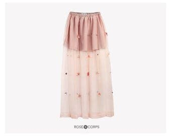 Tulle maxi skirt with bead & sequin flowers