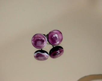Lampwork Glass Stud Earrings * purple * purple/black - glass Stud Earrings studs murano glass steel surgical artisan