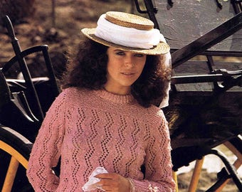 Lady's Crew Neck Cotton Top Sweater Pullover Jumper Size 76 to 102 cm (30 to 40 inches) - Patons 7117 - Vintage Retro Knitting Pattern