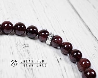 Red Garnet Bracelet - January Birthday Gift, Dark Red Jewelry, January Birthstone Bracelet, Mens Gemstone Beaded Bracelet