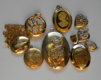 9-Piece Vintage 40s-60s Lockets Lot (Lot #2) Teddy Bear Cameo Rhinestone Guilloche FREE Shipping