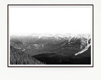 Mountains Forest Wall Decor Nordic Art Print Poster Scandinavian Monochrome Black White Nature Wilderness Minimalist Snow Photography 1041