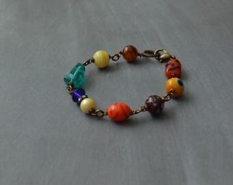 Vintage style bracelet, Beaded bracelet, Bohemian bracelet, Gift idea, Gift for her, Gypsy bracelet, Vintage style jewelry