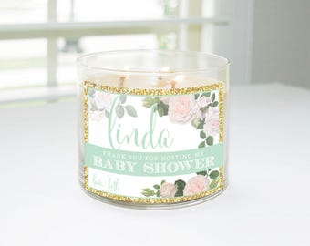 Thank You For Hosting My Baby Shower Custom Candle Label (Mint U0026 Gold)