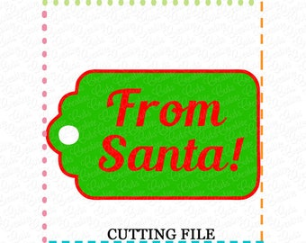 From Santa Gift Tag SVG Cutting File, happy holidays gift tag cut file svg