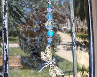 beaded rear view mirror car charm blue glass clear sun catcher car decor dragonfly beaded hanging charms  automobile accessories