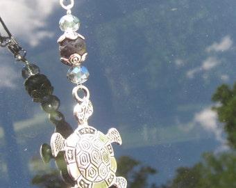 rear view mirror car charm sea turtle car charm sun catcher SUV charm sparkly blue glass lava stone car bling beach accessories turtle charm
