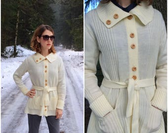 Ivory Cardigan Vintage Sweater Knit Belted Turtleneck w/ Wooden Buttons, Sash Belt, Two Front Pockets, Cozy Collar