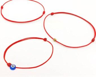 Thin Red String Bracelet - Evil Eye Bracelet - Lucky Bracelet - Red Bracelet - 24k Gold Beaded Bracelet - Best Friend Gift