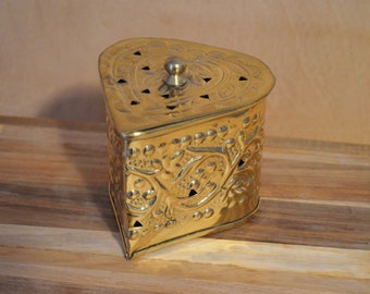 Heart Shaped Box, Gold Heart Box, Brass Heart Box, Potpourri Container