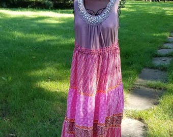 Brown and Pink Beaded Cowgirl Boho Gypsy Dress