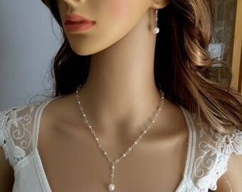 Pearl bridal jewellery set white or cream pearl and clear Swarovski crystal wedding jewelry set pearl drop necklace & earrings wirewrap gift