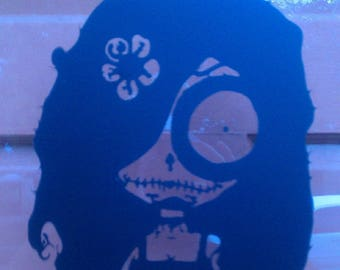 Goth Girl Decal //design // sticker // wall art // day of the dead // car graphics // room decor // emo goth gothic metal AA06.22