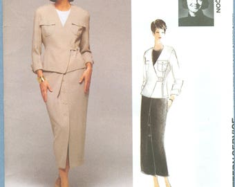 1994 Misses' Double Breasted Jacket and Skirt Suit by  Odile Lancon UC FF Size 14,16,18 - Vogue Attitudes International Sewing Pattern 1300