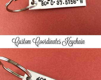 Coordinates Keychain Hand Stamped Aluminum Silver Color Gift Longitude Latitude Favorite Place Map Location Personalized Gift - Christmas