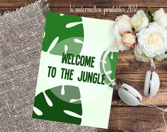 Welcome to the jungle! Brand NEW Quote Printable for home, dorm and office decor!  Back to school art,  printable for gift,  quotes art