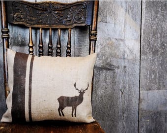 A classic rustic deer pillow cover for your home decor! Cottage Chic decor, Country Home decor, Holiday decor pillow, Decorative pillow.