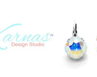 CRYSTAL AB 12mm Cushion Cut Earrings Made With Genuine Swarovski Crystal *Choose Your Finish *Karnas Design Studio™ *Free Shipping*