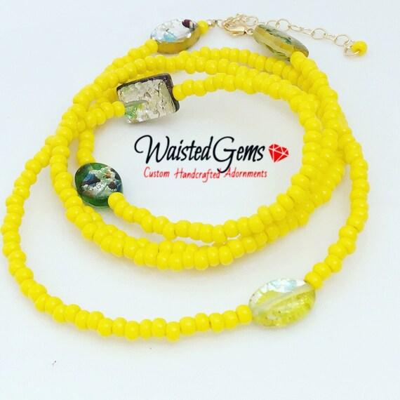 Lemonaid Waist Beads, Yellow Waist Beads, WaistBeads, Waist Chain, Belly Chain, Yellow Bikini, Gifts for Her, Sale