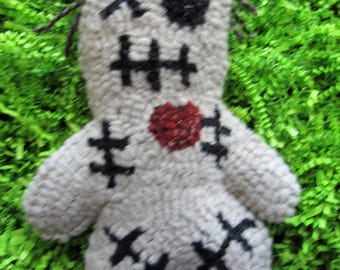 Primitive Hooked Rug Voodoo Doll OOAK Folk Art Halloween