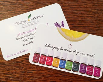 Essential Oil Business Card Template for Independent Distributor; Full Color, Double Sided, Personalized (TEMPLATE ONLY)