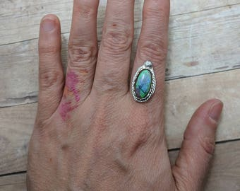 Sterling Opal & Sterling Silver Ring Custom Sized, 6 7 8 9 10, handmade gift for her, oval stone, spring fashion, southwest, easter jewelry