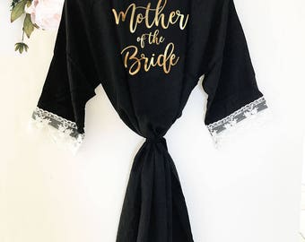 Mother of the Bride Robe Mother of the Groom Robe Mother of the Bride Gift Ideas Bridal Party Lace Robes (EB3184BPW)