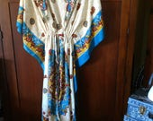 Open front Cover Up Robe with Ties -- Polyester Cream Yellow Red Turquoise blue & glitter print Caftan Long Tunic Belly Dance Fits One Size