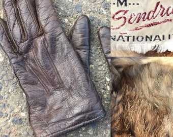 6.5-7 Fur lined leather gloves