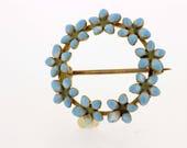 1890-1910 Blue Enamel Flower Pin/Brooch