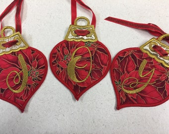 Joy Christmas Embroidered Applique Ornaments