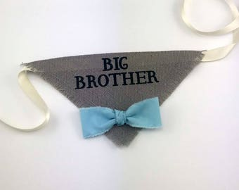 Big Brother Dog Bandana Gray with Blue Bowtie for Pregnancy Announcement Newborn Photos Baby Shower
