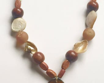 Maple Wood* Natural Druzy Agate Necklace