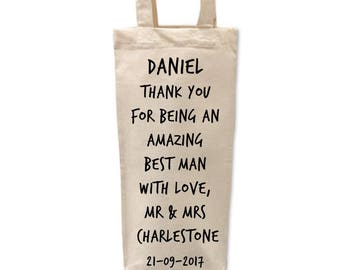 Usher Gift | Bottle | Bag | Thank you | Personalised | Favours | Bridal Party Gifts | Gift Bag | Wedding Favour | Will you be my | Best Man