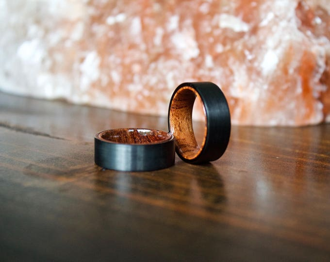 Featured listing image: Wood Ring, Black Tungsten Carbide Ring, Mens Wood Ring, wooden ring, Wood, wooden rings, wedding band, Wood rings for men, Wood Inlay ring