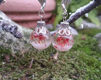 Real Flower Earrings - Resin Sphere Earrings - Gift For Her - Resin Jewelry - Pressed Flower Jewelry - Globe Earrings - Women Earrings