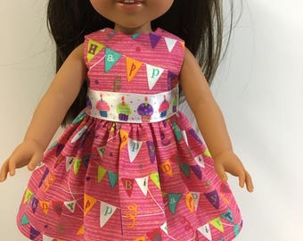 "Wellie Wishers Like 14.5 inch Doll Clothes, ""HAPPY BIRTHDAY"" Dress, Cupcakes! Fits 14"" Dolls like AG Wellie Wishers Doll Clothes, Celebrate!"